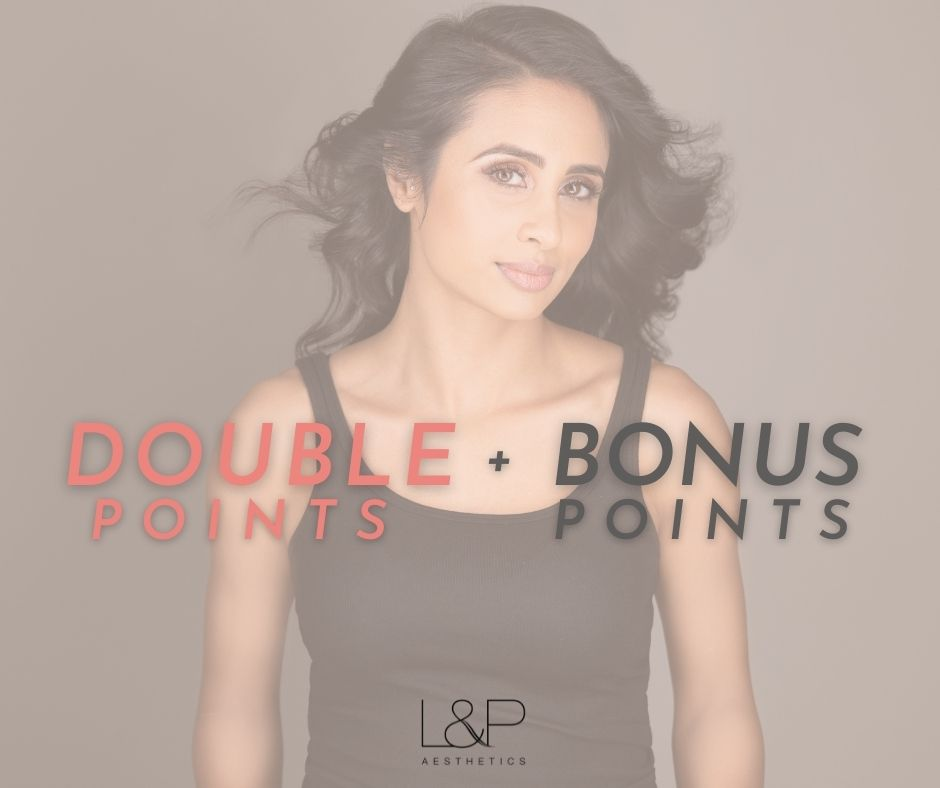 Double Points on Alle graphic with young woman in the background